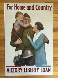 1918 For Home And Country Victory Liberty Loan Vintage Wwi Linenbacked Poster