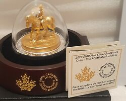 2020 Rcmp Musical Ride Sculpture 100 10oz Pure Silver Coin Canada 3d Horserider
