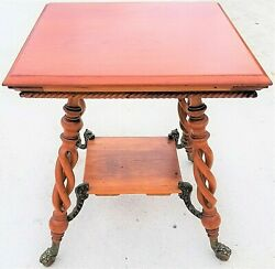 Antique Asian Chinoiserie Wood And Brass Dragons Claw And Ball Lamp Accent Table 29