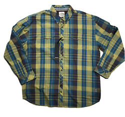 Atiziano Mens 100 Authentic L/s Button Up Shirt Size 6x Plaid Brshd Gold Chase
