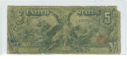 1896 5 Educational United States Silver Certificate Rare Fr 269 Bruce-roberts