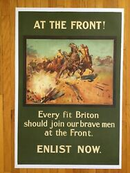 1915 At The Front - Briton Enlist Now - Wwi- Original Vintage Linenbacked Poster