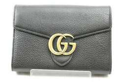 Gg Marmont Chain Wallet 401232 Black Leather Simple Diagonal Hanging Used