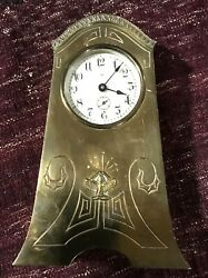 Antique Arts And Crafts Brass Clock By Benedict Mfg. Co. In Working Order