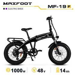 1000w Electric Folding Bike Maxfoot Mf-19 Front Suspension Bicycle 20 Fat Tires