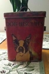 Boston Terrier Dog Biscuits Tin Container Rustic Look New