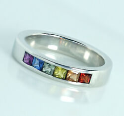 Genuine 9k 10k Or 18k Solid Thick Gold Natural Rainbow Sapphire Pride Band Ring