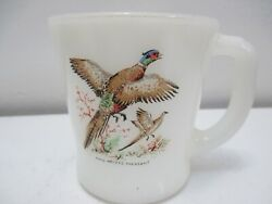 Vintage Fire King Glass Mug Ring-necked Pheasant Game Bird Oven Ware 3 3/8 T