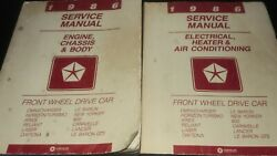 Vtg 1986 Chrysler Dodge Plymouth Service Manuals Front Wheel Drive Auto Repair