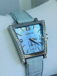 Corum Trapeze Stainless Steel And Diamond Watch With Blue Dial On Leather Strap