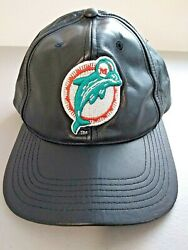 Vtg 90s Miami Dolphins Drew Pearson Leather Snapback Hat Cap Nfl Men Dad Gift