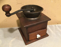 Vintage Table Top Coffee Grinder/mill Dovetail Wood Metal Drawer Farmhouse Decor