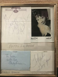 Framed Entertainers Autographs Andbull George Jones Patti Labelle And Carly Simon
