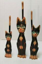 """Vintage Set Of 3 Wood Kitty Cat Figurine Statue Hand Carved Hand Painted 10"""" 12"""