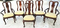Vintage Solid Mahogany George Ii Queen Anne Splat Back Dining Chairs - Set Of 6