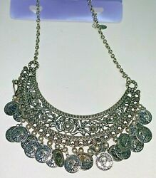 Silver Coin Medallion Chain Choker Collar Necklace 13 Fashion Costume Jewelry