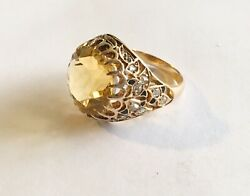 Antique Victorian 14k Citrine Ring With Black Enamel And Rose Cut Diamonds