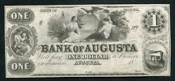 1800's 1 Bank Of Augusta Georgia Obsolete Banknote Remainder Uncirculated