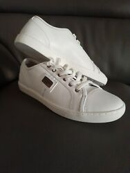 Dolce And Gabbana Mens White Low Cut Leather Sneakers With Logo Sz Us 9/43 Eu