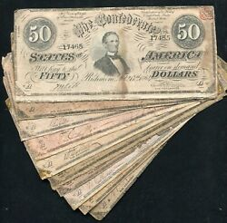 Lot Of 10 1864 50 Fifty Dollars Csa Confederate States Of America Notes B