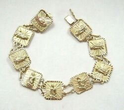 Stunning Real 10k Yellow Gold Lady Of Guadalupe Tile Charm Bracelet Religious