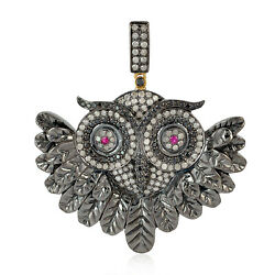 Halloween Gift 2.1ct Pave Diamond Owl Charm Pendant Jewelry 925 Sterling Silver