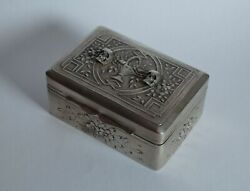 Antique Victorian Mourning Silver And Wood Box-with Memento Mori Skulls-19th C