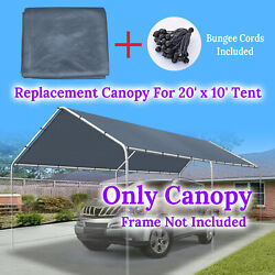 Replacement Canopy Tent 10x20' Carport Cover Tarp Sunshade Top With Bungees