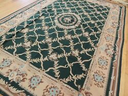 8x10 7x10 French Aubusson Needlepoint Area Rug Beige Green Blue Floral