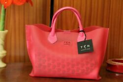 CARACTERE Women#x27;s Pink Waterproof Beach Bag Free Shipping Italy made New w tags $105.00
