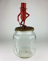 Vtg Planters Mr Peanut Octagon Embossed Glass Jar Red Pennant Bags Made In Usa