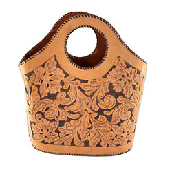 Vintage Leather Carved Hand Tooled Tan Western Whip Stitched Tote Handbag