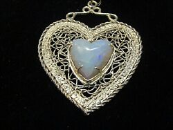 Cracked-vintage Natural Heart Shape 8ct+ Opal Set In 10k Yellow Gold Pendant