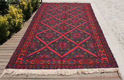 Caucasian Rug 82and039and039x140and039and039 Hand Woven Antique Vintage Sumak Kilim 210x358cm