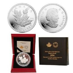 2014 50 Maple Leaves - 5 Oz Fine Silver High Relief Proof Coin - Mintage 2500