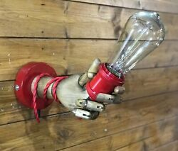 Wooden Vintage Mannequin Hand Lamp Wall Lamp Sconce Steampunk Edison Light