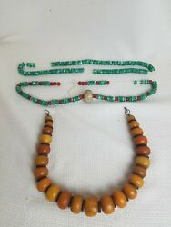 Vintage African Trade Bead Necklace -african Amber 23 Graduated Large Beads