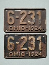 1924 Ohio License Plate Pair 6-231tag Original Shorty Year Number Matching
