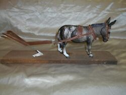 Breyer Vintage Chalky Donkey W/ Harness And Wooden Plow Cool Set Up.