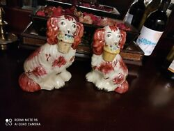 Antique Chinese Porcelain Pair Dogsandnbsp - 1950s - 7.5 Inches