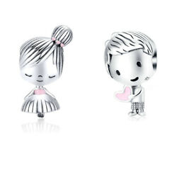 Bisaer Women 925 Sterling Silver Playmate Boy And Girl Charms Jewelry Fit Bracelet
