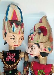 Pair Puppets. Rod. Artist Made, Wood Carved And Hand Painted. Jointed. Theatre.