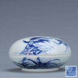 4.3 Antique Old Chinese Porcelain Qing Dynasty Mark Blue White Goose Grass Pot
