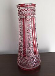 Antique Crystal Vase Cranberry Cut To Clear 13