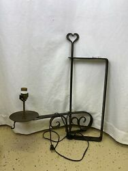 Hand Hammered Heart Wrought Iron Swing Arm Wall Sconce Lamp Farmhouse
