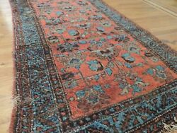 3x6 3x5 Antique Malayer Rug Wool Red Blue Brown Rust Worn Style