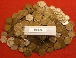 1929-s Lincoln Wheat Cent Penny 50 Coin Roll Av Circ Great Collector Coins Gift