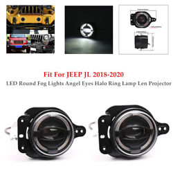 430w Pair Led Round Fog Light Angel Eyes Lamp Len Projector For Jeep Jl 18-20