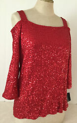 NEW INC International Concepts Womens Cold Shoulder Red Sequin Top Stretch Sz PM $16.15