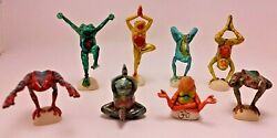 Neil Eyre Designs Tie Dyed Yoga Tree Frogs Mint Rare Set Of 8 Signed Rainbow Yen